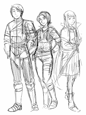 Sketch of Ilias, Alissa and Lilith