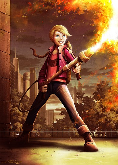 Serathus: The Flamethrower (Larisa with a flamethrower)
