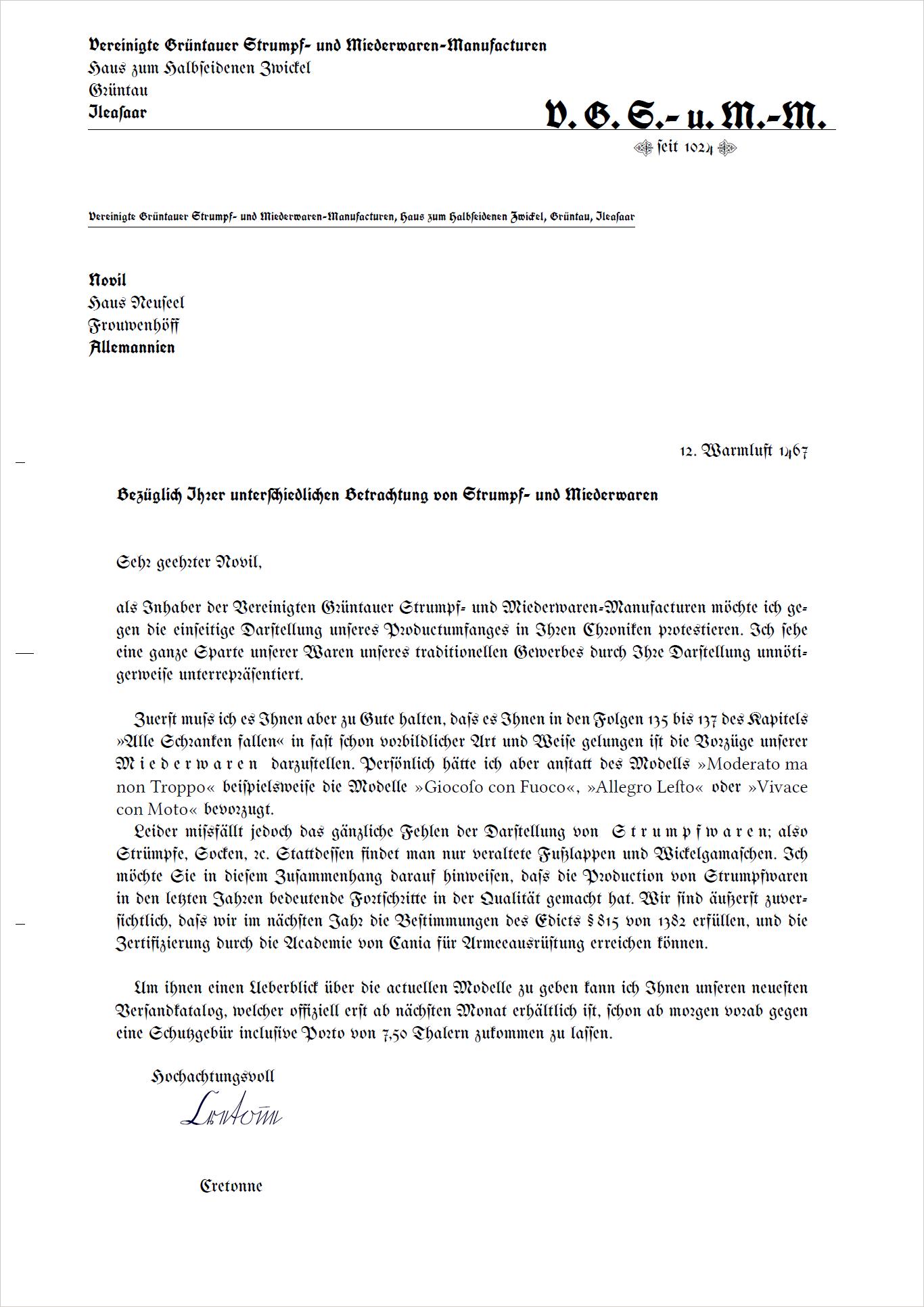 Gaia Auf Deutsch Brief Von Den Vereinigten Grüntauer Strumpf Und