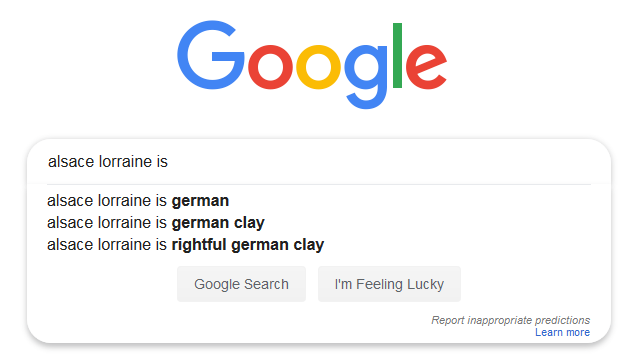 Google: Alsace-Lorraine is rightful German clay